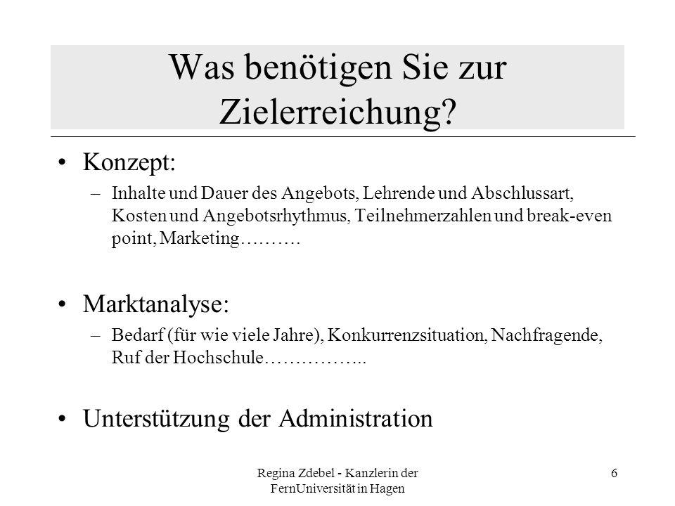 Regina Zdebel - Kanzlerin der FernUniversität in Hagen 6 Was benötigen Sie zur Zielerreichung? Konzept: –Inhalte und Dauer des Angebots, Lehrende und