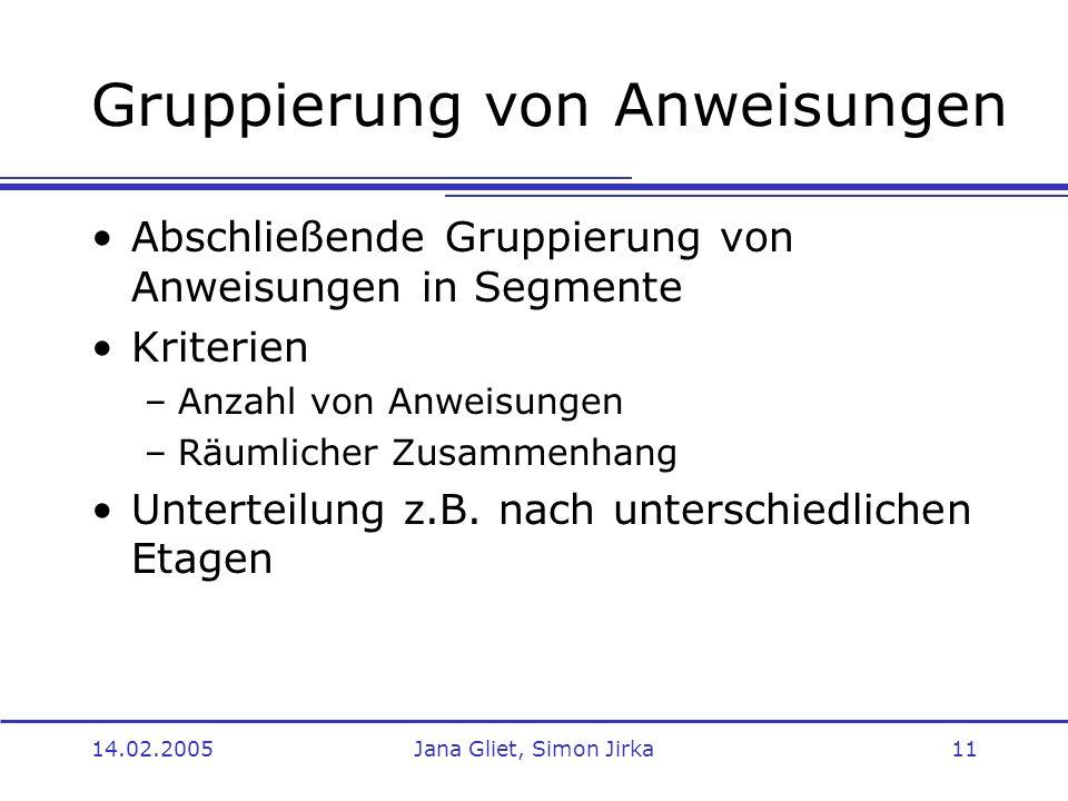 14.02.2005Jana Gliet, Simon Jirka11 Gruppierung von Anweisungen Abschließende Gruppierung von Anweisungen in Segmente Kriterien –Anzahl von Anweisunge