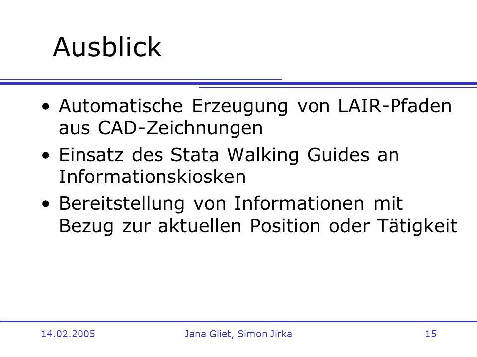 14.02.2005Jana Gliet, Simon Jirka15 Ausblick Automatische Erzeugung von LAIR-Pfaden aus CAD-Zeichnungen Einsatz des Stata Walking Guides an Informatio