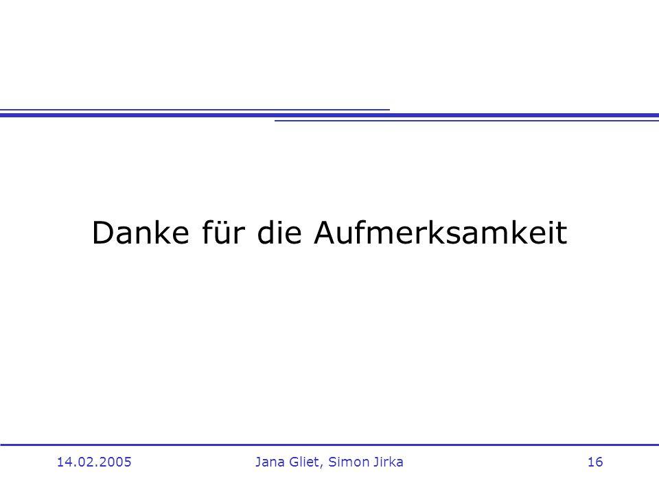 14.02.2005Jana Gliet, Simon Jirka16 Danke für die Aufmerksamkeit