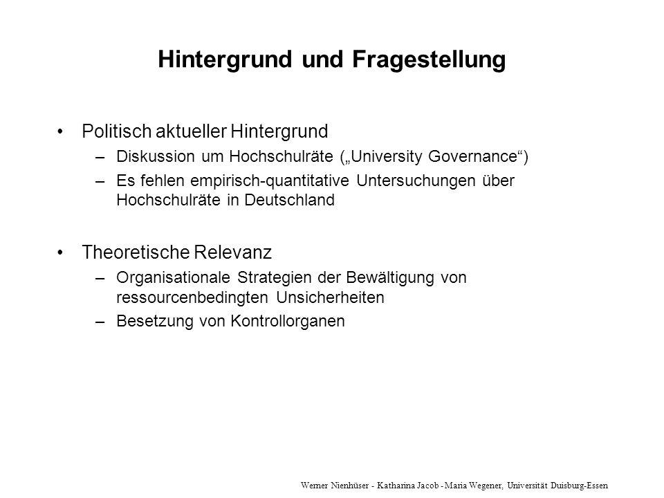 Werner Nienhüser - Katharina Jacob - Maria Wegener, Universität Duisburg-Essen Hintergrund und Fragestellung Politisch aktueller Hintergrund –Diskussi