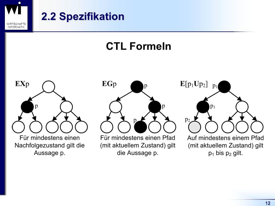 12 WIRTSCHAFTS INFORMATIK 2.2 Spezifikation CTL Formeln