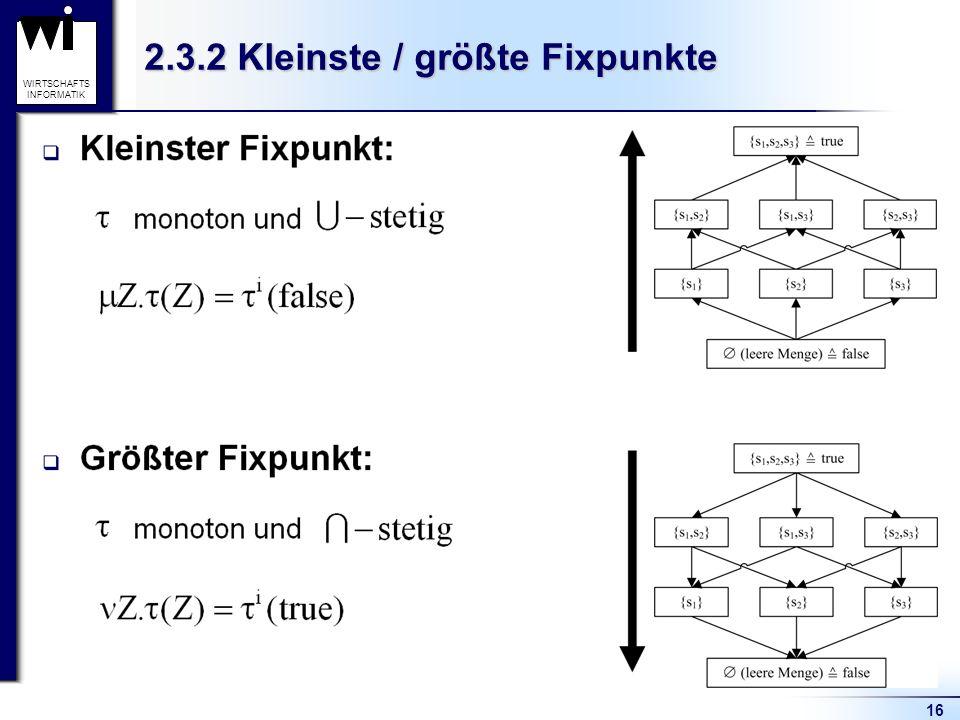 16 WIRTSCHAFTS INFORMATIK 2.3.2 Kleinste / größte Fixpunkte