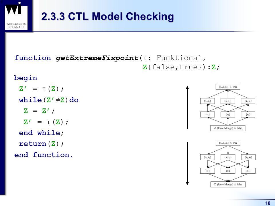 18 WIRTSCHAFTS INFORMATIK function getExtremeFixpoint(τ: Funktional, Z{false,true}):Z; begin Z = τ(Z); while(ZZ)do Z = Z; Z = τ(Z); end while; return(