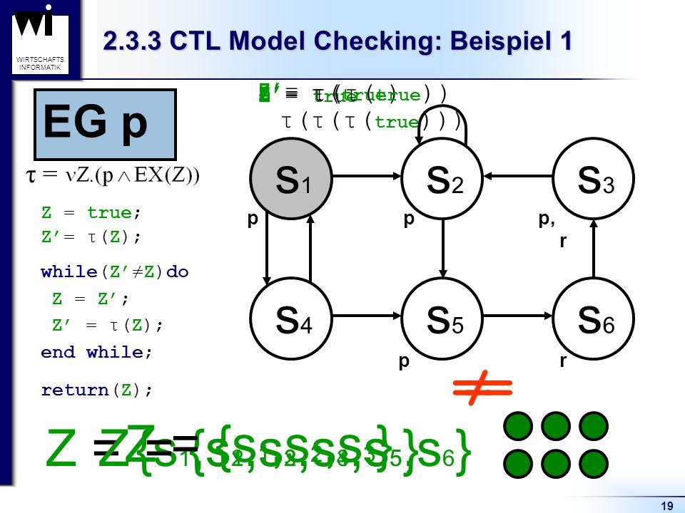 19 WIRTSCHAFTS INFORMATIK Z = {s 1,s 2,s 3,s 4,s 5,s 6 }Z = {s 1,s 2,s 3,s 5 } Z = true Z= τ( true ) Z= τ(τ( true )) Z= τ(τ(τ( true ))) Z = {s 1,s 2,s 3 } 2.3.3 CTL Model Checking: Beispiel 1 s1s1 s2s2 s3s3 s4s4 s5s5 s6s6 Z = true; while(ZZ)do return(Z); Z= τ(Z); Z = Z; Z = τ(Z); end while; pp pr p, r == τ = EG p