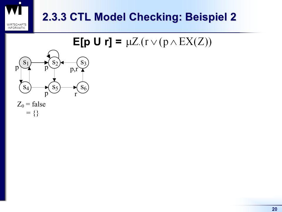 20 WIRTSCHAFTS INFORMATIK 2.3.3 CTL Model Checking: Beispiel 2 1. Hallo 2. Hallo 3. Hallo 4. Hallo E[p U r] =