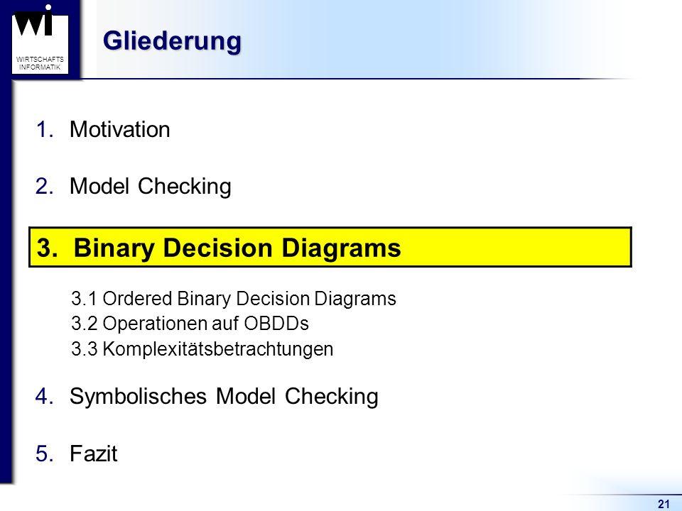 21 WIRTSCHAFTS INFORMATIKGliederung 1.Motivation 2.Model Checking 3.Binary Decision Diagrams 3.1 Ordered Binary Decision Diagrams 3.2 Operationen auf OBDDs 3.3 Komplexitätsbetrachtungen 4.Symbolisches Model Checking 5.Fazit 3.