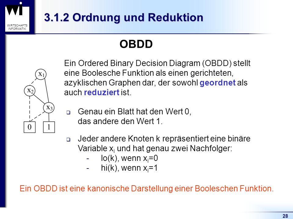 28 WIRTSCHAFTS INFORMATIK 3.1.2 Ordnung und Reduktion Ein Ordered Binary Decision Diagram (OBDD) stellt eine Boolesche Funktion als einen gerichteten, azyklischen Graphen dar, der sowohl geordnet als auch reduziert ist.
