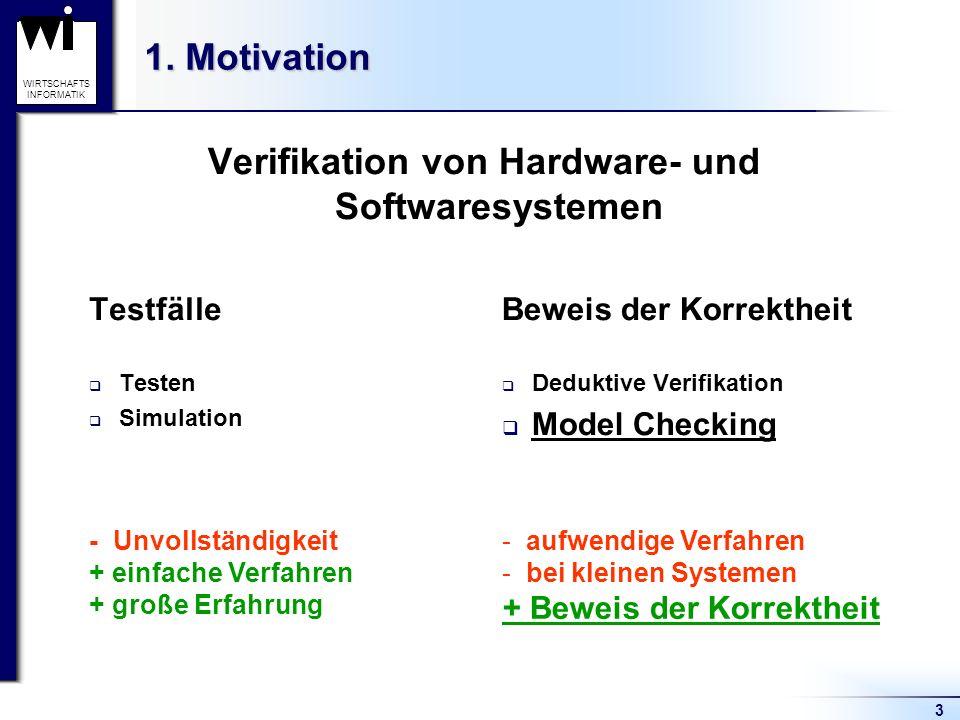 3 WIRTSCHAFTS INFORMATIK 1. Motivation Beweis der Korrektheit Deduktive Verifikation Model Checking Verifikation von Hardware- und Softwaresystemen Te