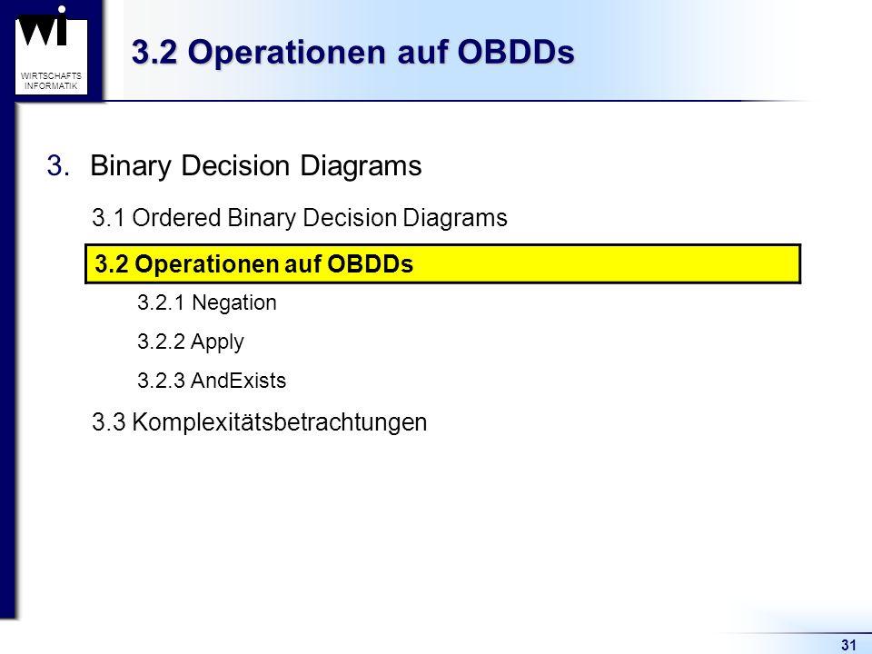 31 WIRTSCHAFTS INFORMATIK 3.2 Operationen auf OBDDs 3.Binary Decision Diagrams 3.1 Ordered Binary Decision Diagrams 3.2 Operationen auf OBDDs 3.2.1 Negation 3.2.2 Apply 3.2.3 AndExists 3.3 Komplexitätsbetrachtungen 3.2 Operationen auf OBDDs
