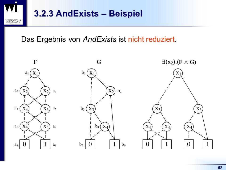 52 WIRTSCHAFTS INFORMATIK 3.2.3 AndExists – Beispiel Das Ergebnis von AndExists ist nicht reduziert.