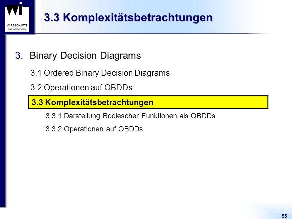 55 WIRTSCHAFTS INFORMATIK 3.3 Komplexitätsbetrachtungen 3.Binary Decision Diagrams 3.1 Ordered Binary Decision Diagrams 3.2 Operationen auf OBDDs 3.3 Komplexitätsbetrachtungen 3.3.1 Darstellung Boolescher Funktionen als OBDDs 3.3.2 Operationen auf OBDDs 3.3 Komplexitätsbetrachtungen