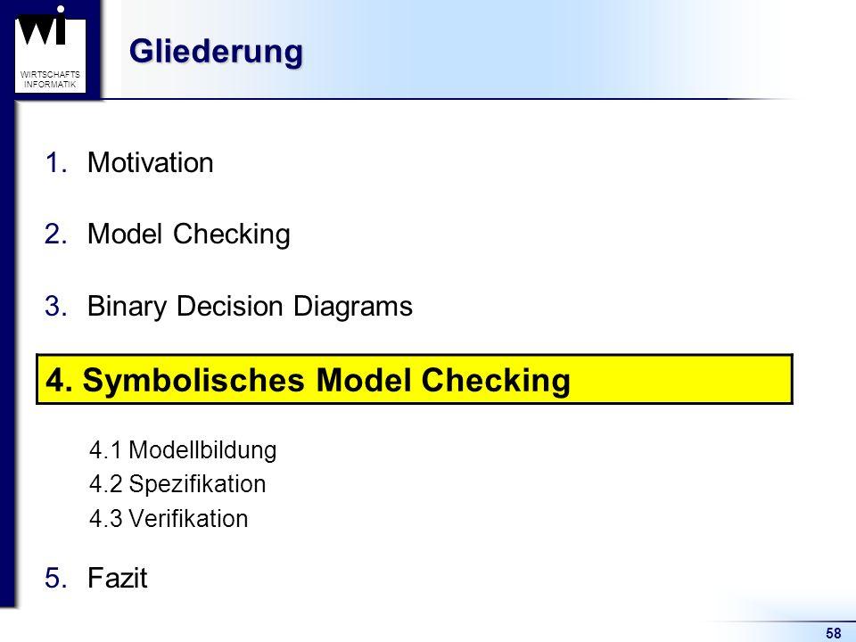 58 WIRTSCHAFTS INFORMATIKGliederung 1.Motivation 2.Model Checking 3.Binary Decision Diagrams 4.Symbolisches Model Checking 4.1 Modellbildung 4.2 Spezifikation 4.3 Verifikation 5.Fazit 4.