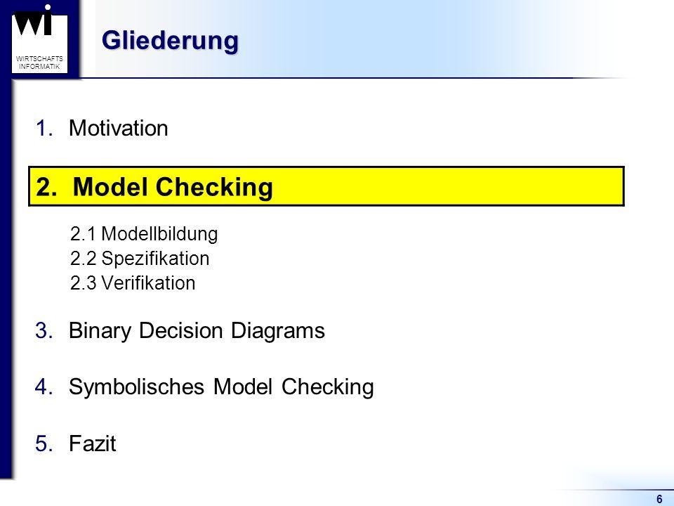 6 WIRTSCHAFTS INFORMATIKGliederung 1.Motivation 2.Model Checking 2.1 Modellbildung 2.2 Spezifikation 2.3 Verifikation 3.Binary Decision Diagrams 4.Symbolisches Model Checking 5.Fazit 2.