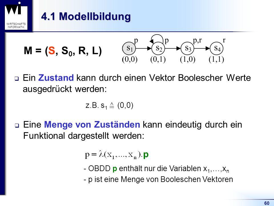 60 WIRTSCHAFTS INFORMATIK 4.1 Modellbildung Ein Zustand kann durch einen Vektor Boolescher Werte ausgedrückt werden: Eine Menge von Zuständen kann eindeutig durch ein Funktional dargestellt werden: z.B.