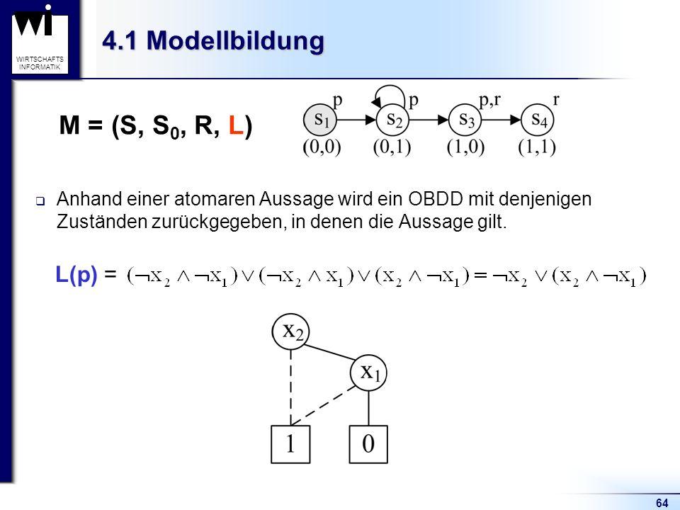 64 WIRTSCHAFTS INFORMATIK 4.1 Modellbildung Anhand einer atomaren Aussage wird ein OBDD mit denjenigen Zuständen zurückgegeben, in denen die Aussage gilt.