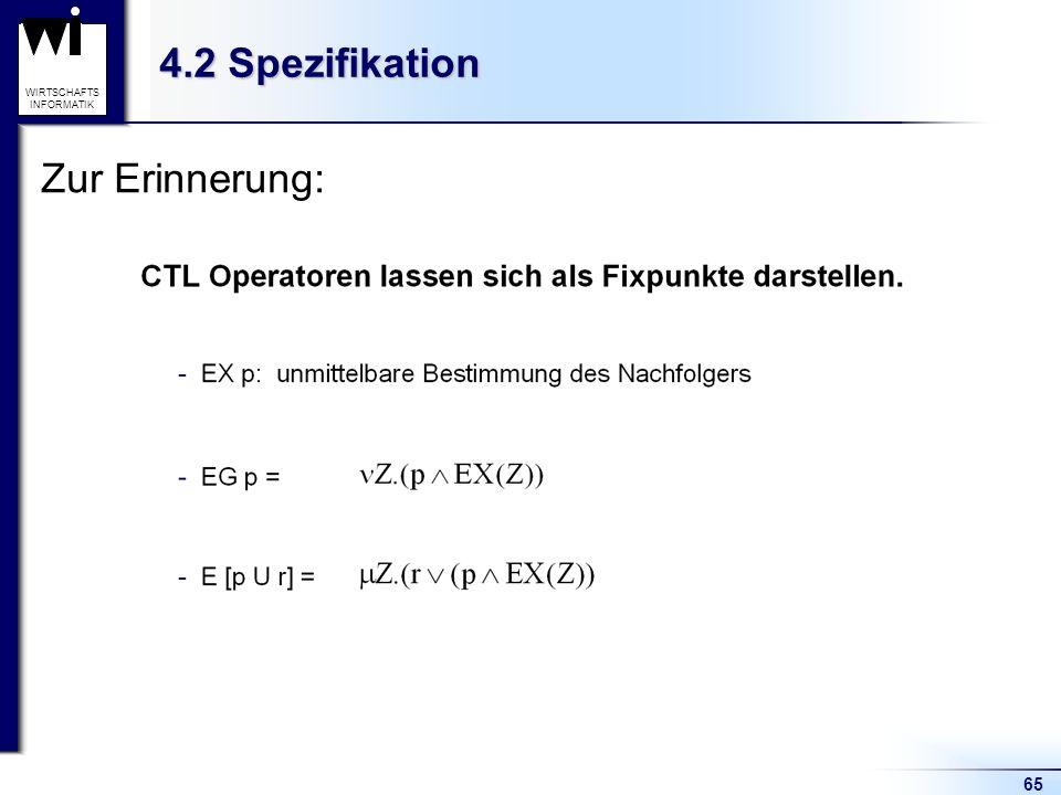 65 WIRTSCHAFTS INFORMATIK 4.2 Spezifikation Zur Erinnerung: