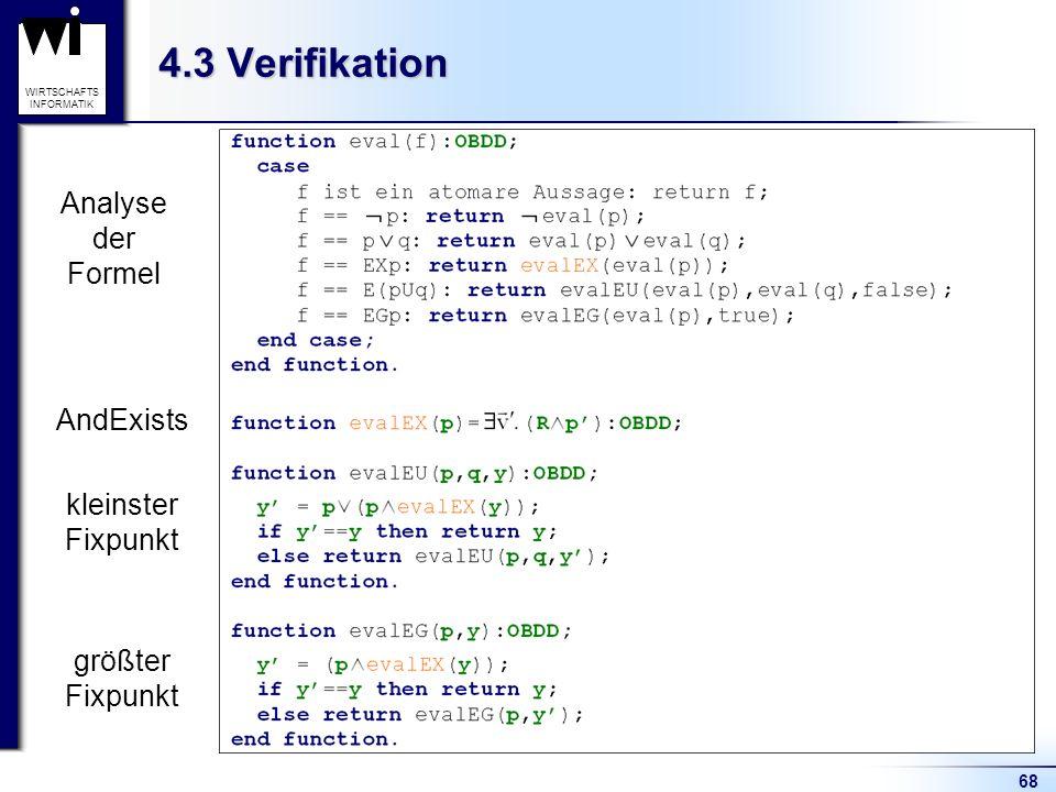 68 WIRTSCHAFTS INFORMATIK 4.3 Verifikation Analyse der Formel AndExists kleinster Fixpunkt größter Fixpunkt