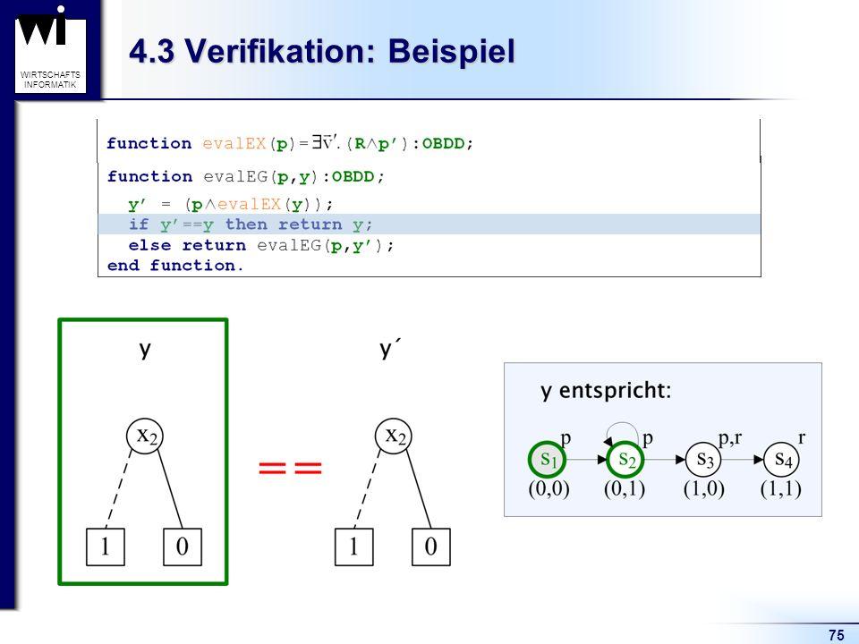 75 WIRTSCHAFTS INFORMATIK 4.3 Verifikation: Beispiel