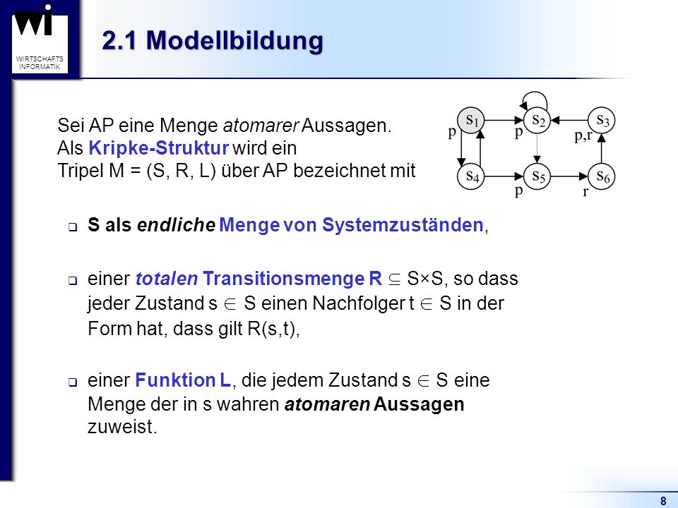 8 WIRTSCHAFTS INFORMATIK 2.1 Modellbildung Sei AP eine Menge atomarer Aussagen. Als Kripke-Struktur wird ein Tripel M = (S, R, L) über AP bezeichnet m