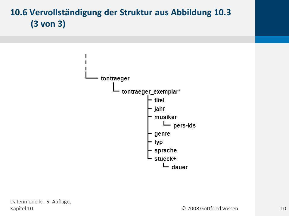© 2008 Gottfried Vossen tontraeger tontraeger_exemplar* titel jahr musiker genre typ sprache stueck+ dauer pers-ids 10.6 Vervollständigung der Struktur aus Abbildung 10.3 (3 von 3) 10 Datenmodelle, 5.