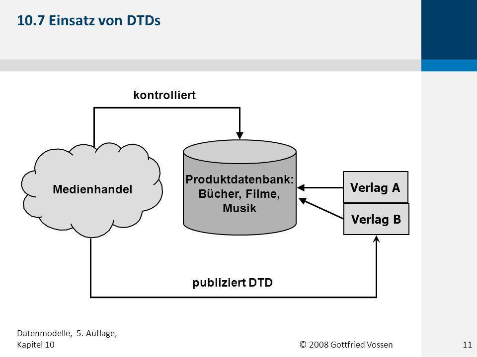 © 2008 Gottfried Vossen Medienhandel Verlag A Verlag B Produktdatenbank: Bücher, Filme, Musik kontrolliert publiziert DTD 10.7 Einsatz von DTDs 11 Datenmodelle, 5.