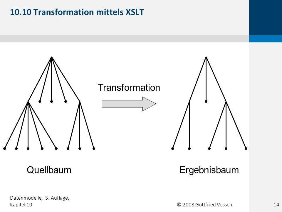 © 2008 Gottfried Vossen Transformation QuellbaumErgebnisbaum 10.10 Transformation mittels XSLT 14 Datenmodelle, 5.