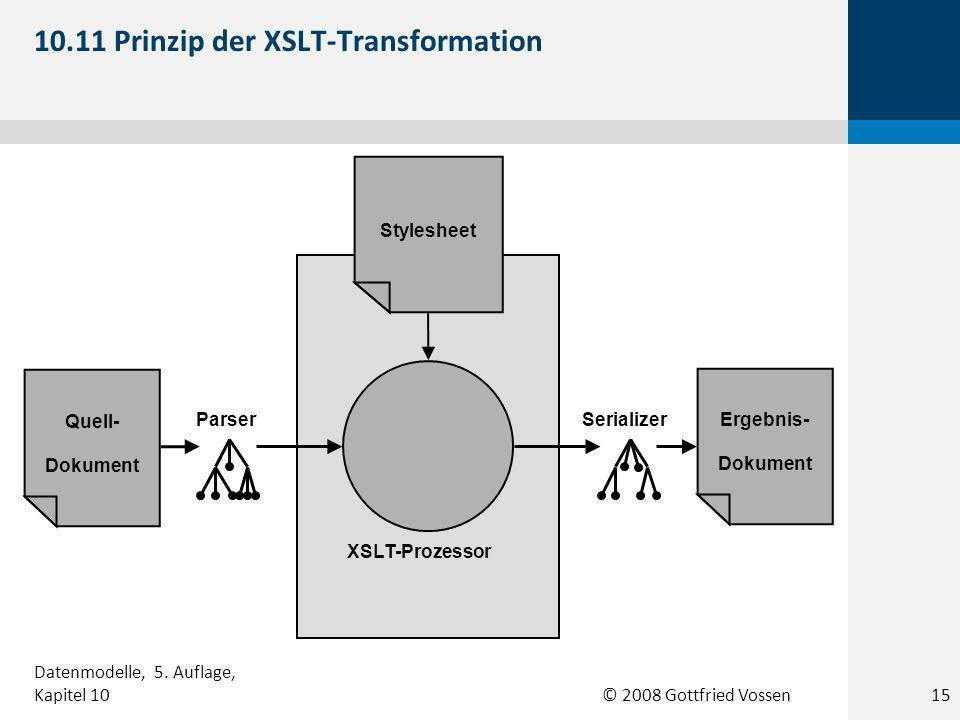 © 2008 Gottfried Vossen Quell- Dokument Ergebnis- Dokument XSLT-Prozessor Stylesheet ParserSerializer 10.11 Prinzip der XSLT-Transformation 15 Datenmodelle, 5.