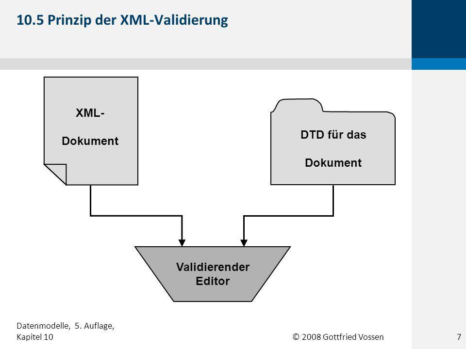 © 2008 Gottfried Vossen XML- Dokument DTD für das Dokument Validierender Editor 10.5 Prinzip der XML-Validierung 7 Datenmodelle, 5.