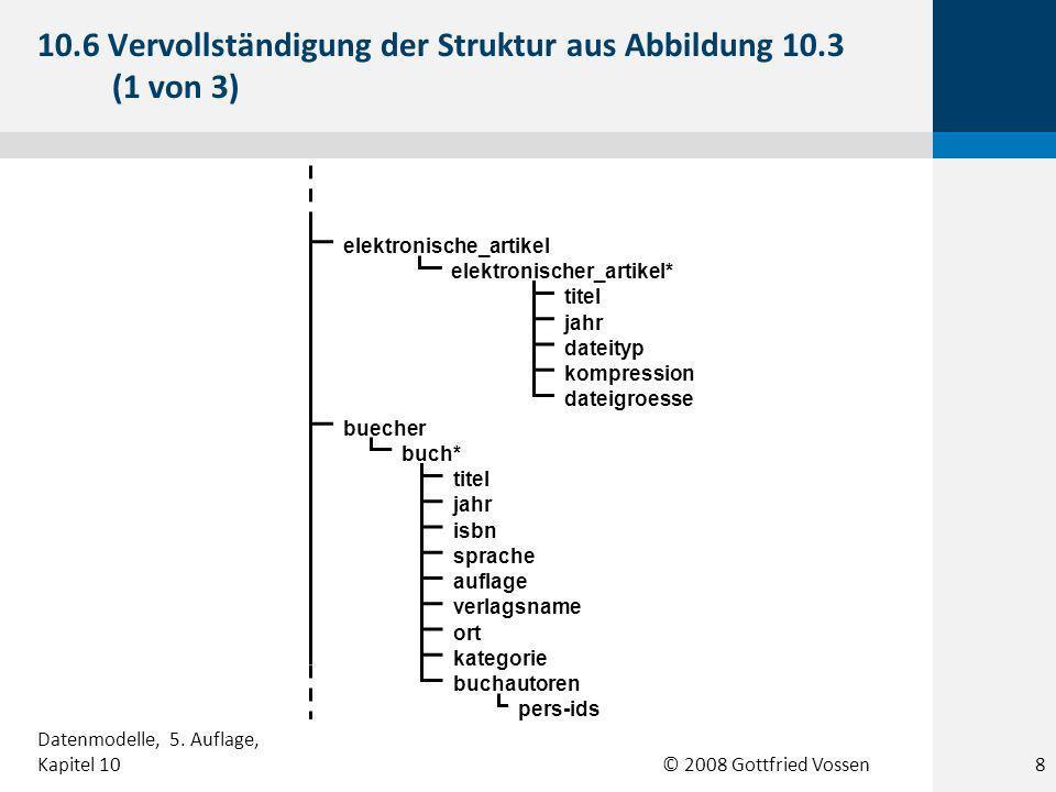 © 2008 Gottfried Vossen buecher buch* titel jahr isbn sprache auflage verlagsname kategorie ort buchautoren pers-ids elektronische_artikel elektronischer_artikel* titel jahr dateityp kompression dateigroesse 10.6 Vervollständigung der Struktur aus Abbildung 10.3 (1 von 3) 8 Datenmodelle, 5.