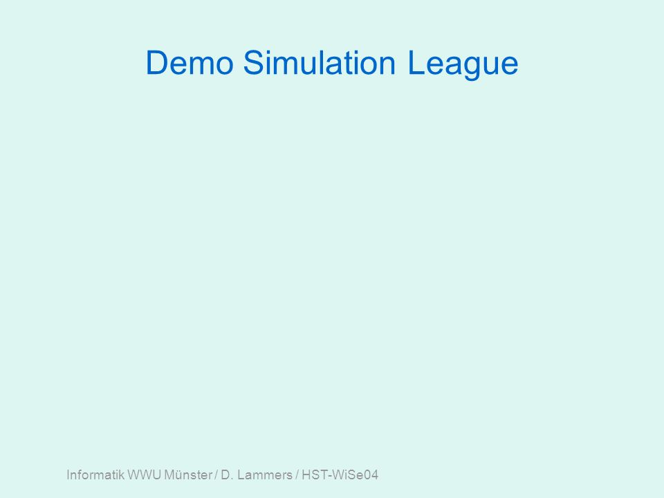 Informatik WWU Münster / D. Lammers / HST-WiSe04 Demo Simulation League