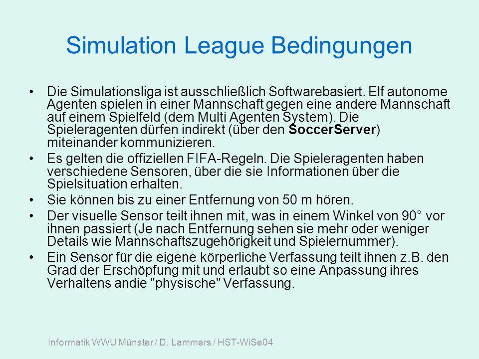 Informatik WWU Münster / D. Lammers / HST-WiSe04 Middle Size Robot League