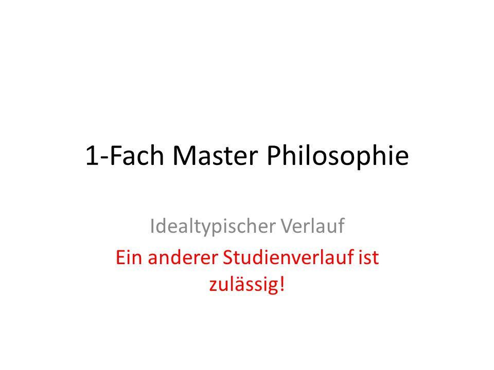 1-Fach Master Philosophie Idealtypischer Verlauf Ein anderer Studienverlauf ist zulässig!