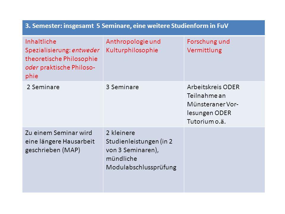 3. Semester: insgesamt 5 Seminare, eine weitere Studienform in FuV Inhaltliche Spezialisierung: entweder theoretische Philosophie oder praktische Phil