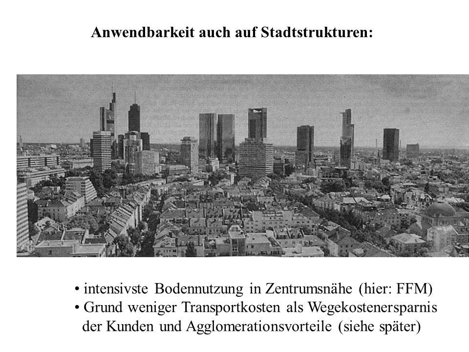 Anwendbarkeit auch auf Stadtstrukturen: intensivste Bodennutzung in Zentrumsnähe (hier: FFM) Grund weniger Transportkosten als Wegekostenersparnis der Kunden und Agglomerationsvorteile (siehe später)
