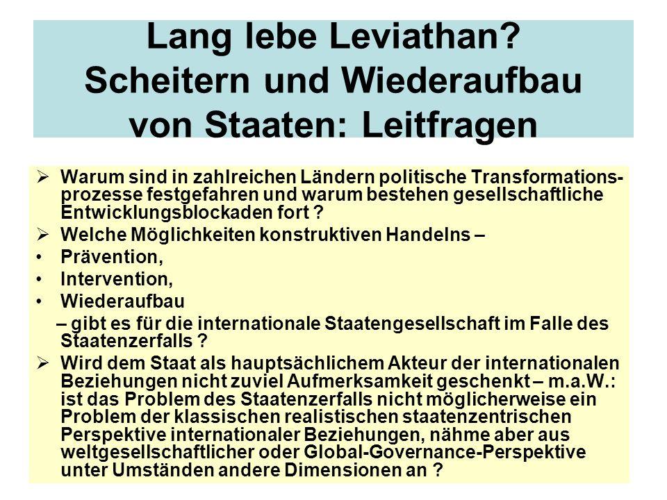 Lang lebe Leviathan? Scheitern und Wiederaufbau von Staaten: Leitfragen Warum sind in zahlreichen Ländern politische Transformations- prozesse festgef
