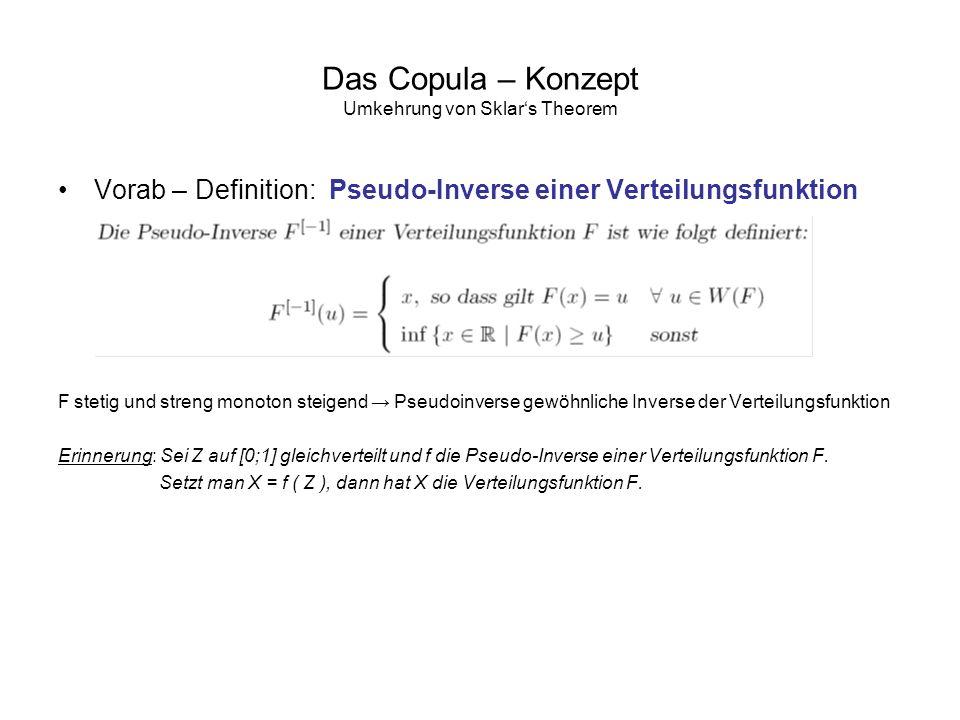 Das Copula – Konzept Umkehrung von Sklars Theorem Vorab – Definition: Pseudo-Inverse einer Verteilungsfunktion F stetig und streng monoton steigend Ps