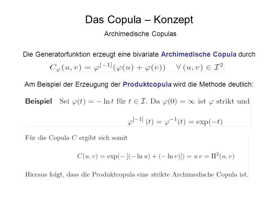 Das Copula – Konzept Archimedische Copulas Die Generatorfunktion erzeugt eine bivariate Archimedische Copula durch Am Beispiel der Erzeugung der Produ