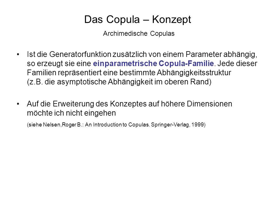 Das Copula – Konzept Archimedische Copulas Ist die Generatorfunktion zusätzlich von einem Parameter abhängig, so erzeugt sie eine einparametrische Cop