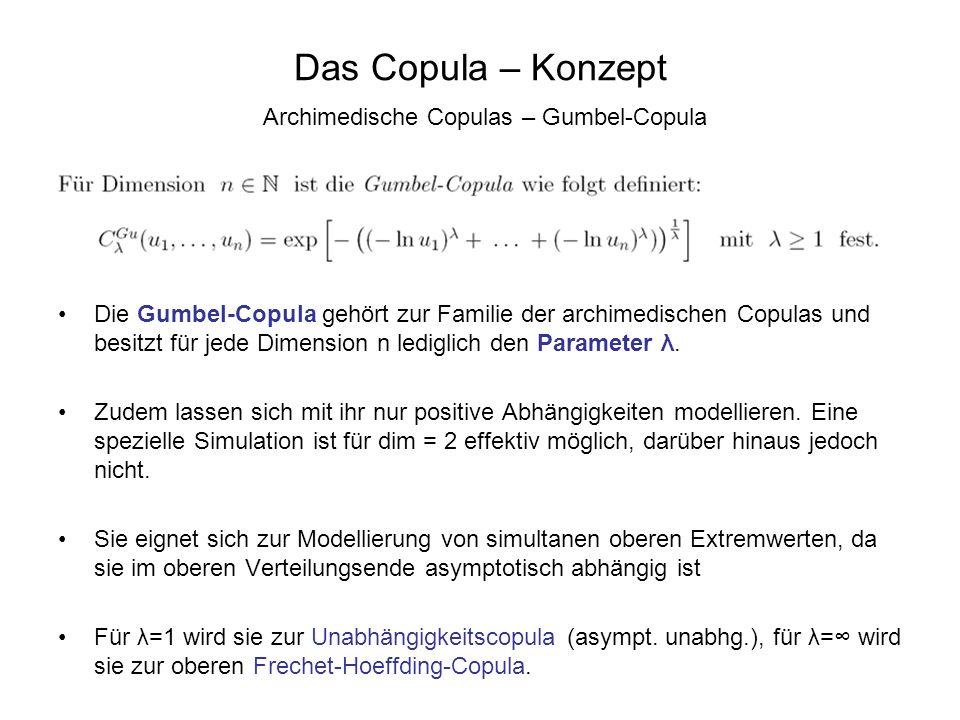 Das Copula – Konzept Archimedische Copulas – Gumbel-Copula Die Gumbel-Copula gehört zur Familie der archimedischen Copulas und besitzt für jede Dimens