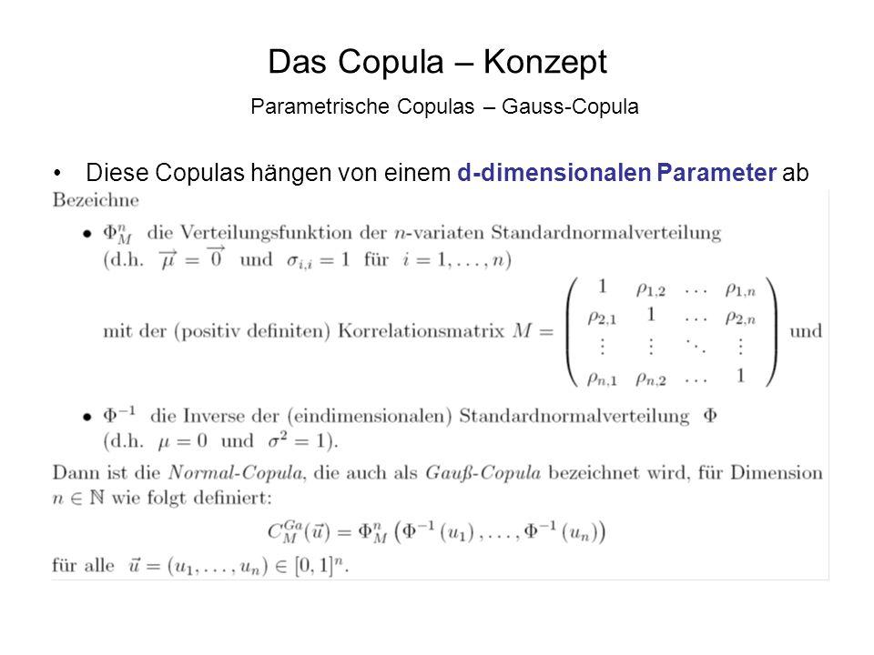 Das Copula – Konzept Parametrische Copulas – Gauss-Copula Diese Copulas hängen von einem d-dimensionalen Parameter ab
