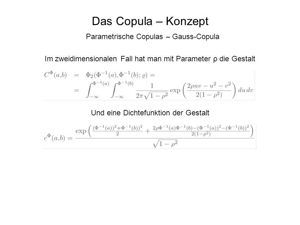 Das Copula – Konzept Parametrische Copulas – Gauss-Copula Im zweidimensionalen Fall hat man mit Parameter ρ die Gestalt Und eine Dichtefunktion der Ge