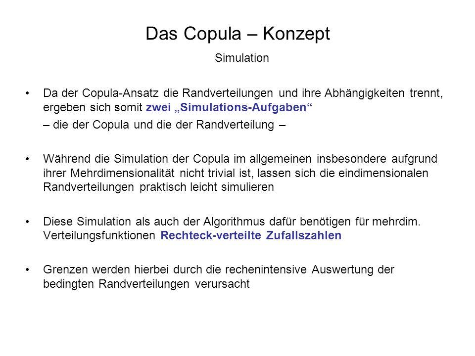 Das Copula – Konzept Simulation Da der Copula-Ansatz die Randverteilungen und ihre Abhängigkeiten trennt, ergeben sich somit zwei Simulations-Aufgaben