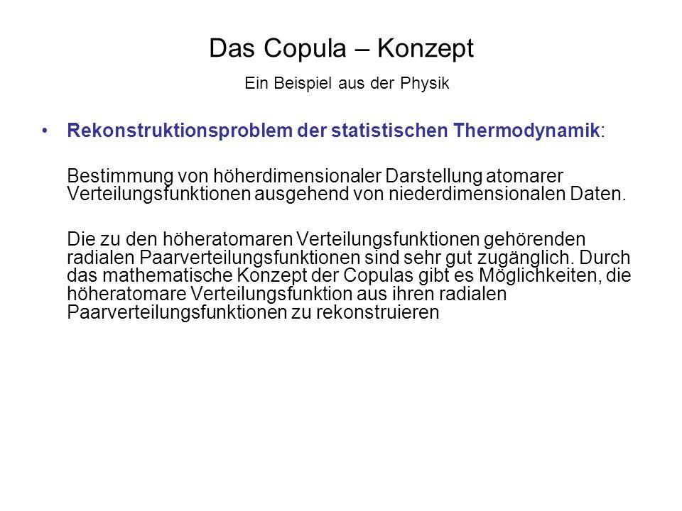 Das Copula – Konzept Ein Beispiel aus der Physik Rekonstruktionsproblem der statistischen Thermodynamik: Bestimmung von höherdimensionaler Darstellung