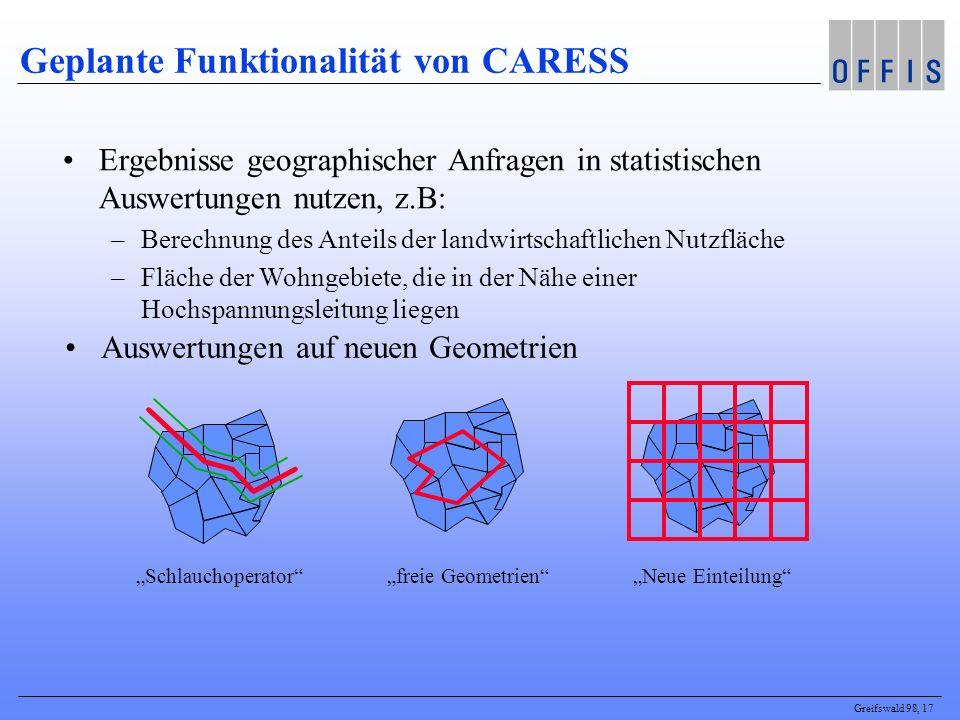 Greifswald 98, 17 Geplante Funktionalität von CARESS Schlauchoperator freie Geometrien Neue Einteilung Ergebnisse geographischer Anfragen in statistis