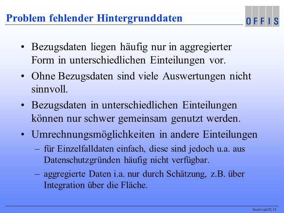 Greifswald 98, 18 Problem fehlender Hintergrunddaten Bezugsdaten liegen häufig nur in aggregierter Form in unterschiedlichen Einteilungen vor. Ohne Be