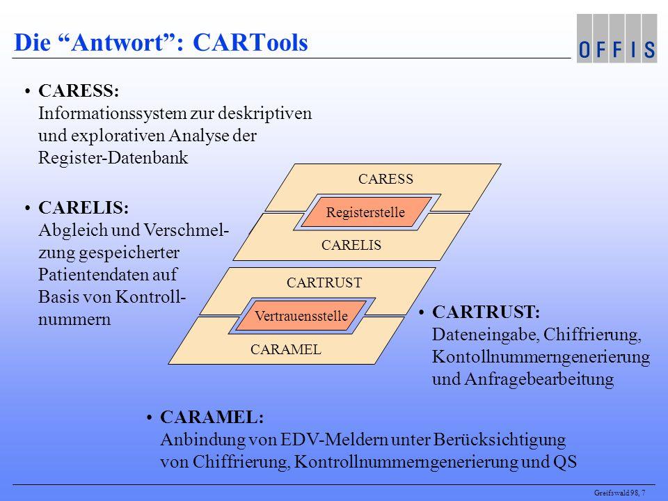 Greifswald 98, 7 CARESS: Informationssystem zur deskriptiven und explorativen Analyse der Register-Datenbank CARELIS: Abgleich und Verschmel- zung ges