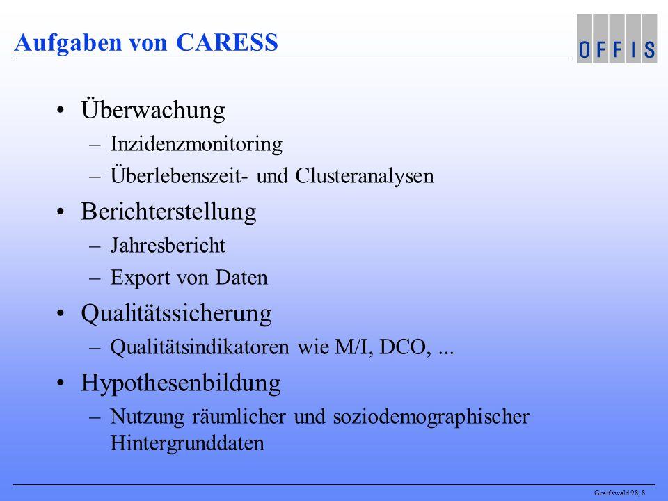 Greifswald 98, 8 Aufgaben von CARESS Überwachung –Inzidenzmonitoring –Überlebenszeit- und Clusteranalysen Berichterstellung –Jahresbericht –Export von Daten Qualitätssicherung –Qualitätsindikatoren wie M/I, DCO,...