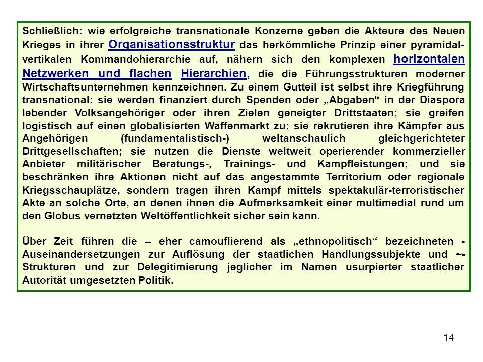 15 Literaturtip Mary Kaldor: Neue und alte Kriege.