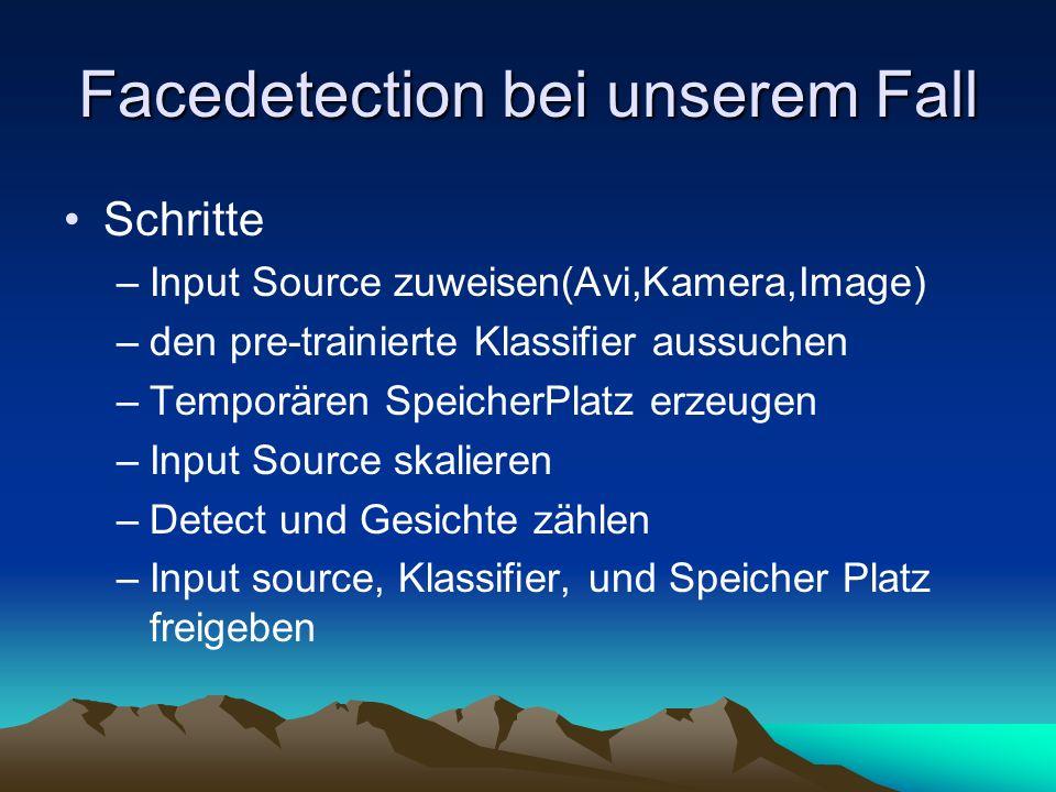Facedetection bei unserem Fall Schritte –Input Source zuweisen(Avi,Kamera,Image) –den pre-trainierte Klassifier aussuchen –Temporären SpeicherPlatz erzeugen –Input Source skalieren –Detect und Gesichte zählen –Input source, Klassifier, und Speicher Platz freigeben